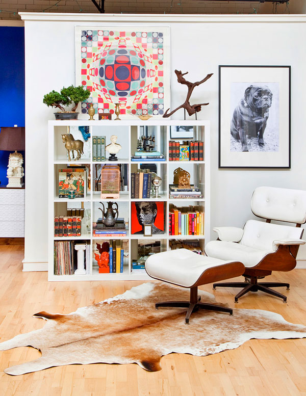 eames-lounge-chair-knock-off-Living-Room-Eclectic-with-Art-bookcase-bookshelves-cowhide