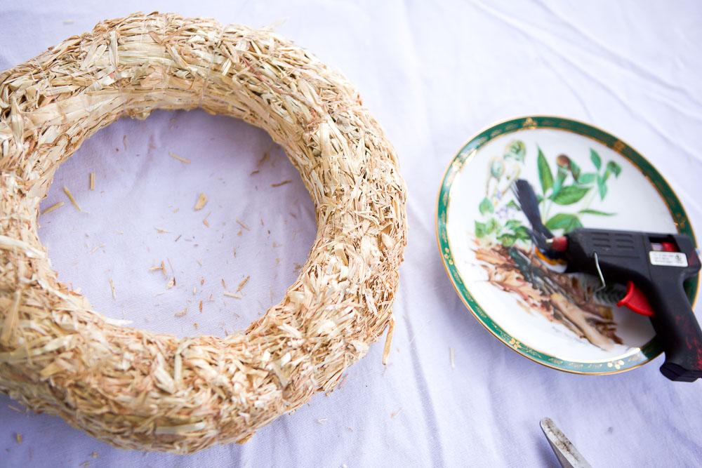 making a marigold wreath