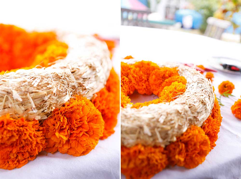 how to do a marigold wreath